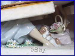 Lladro Figurine #6910 As Pretty As A Flower, Woman Girl & Puppy Dog, #304, MIB
