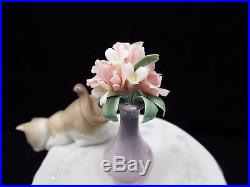 Lladro Figurine #6980 Playful Mates, Cat & Dog on Table, with box
