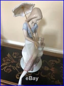 Lladro Figurine #7612 Picture Perfect, Girl with Dog & Umbrella