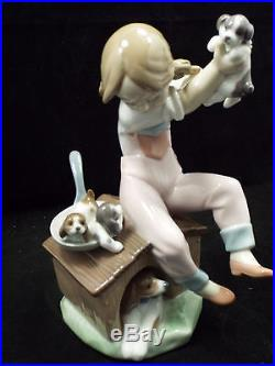 Lladro Figurine #7621 Pick of the Litter, Girl on Dog House Picking Puppy, w box