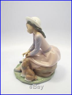 Lladro Figurine #7645 By My Side, Girl with Dog