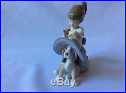 Lladro Figurine AN ELEGANT TOUCH GIRL WITH DOG HAT FLOWERS #6862 Mint