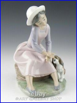 Lladro Figurine BY MY SIDE GIRL SITTING WITH PUPPY DOG #7645 Retired Mint Box