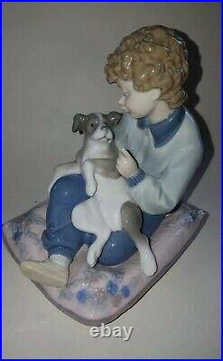 Lladro Figurine Behave Boy With Dog 5703