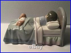 Lladro Figurine Boy With Dog Sleeping in Bed Darling