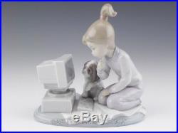 Lladro Figurine COMPUTING COMPANIONS GIRL With DOG COMPUTER #6692 Retired Mint BOX