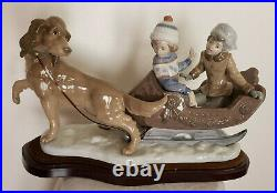 Lladro Figurine Collectible Rare Large #5037 Sleigh Children Sled-dog
