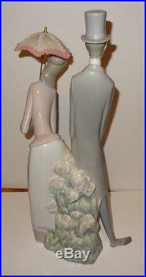 Lladro Figurine Couple with Parasol 4563 Top Hat Parasol Dog/Puppy 20 Tall