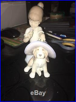 Lladro Figurine Elegant Touch Girl With Dog #6862 Mint With Box