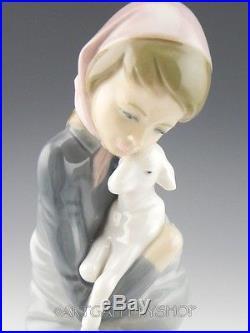 Lladro Figurine JEALOUSY GIRL WITH LAMB SHEEP & DOG #1278 Retired Mint