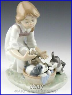 Lladro Figurine JOY IN A BASKET GIRL WITH PUPPIES DOGS #5595 Retired Mint
