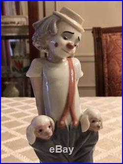 Lladro Figurine LITTLE PALS #7600-Clown with Dogs LCS Retired Society 1985 Box