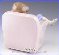 Lladro Figurine NAP TIME FRIENDS BOY SLEEPING ON CHAIR With DOG #6549 Retired Mint