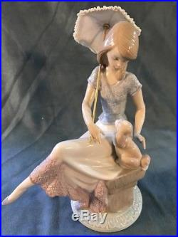 Lladro Figurine PICTURE PERFECT LADY GIRL WITH PARASOL DOG 7612 Retired Mint BOX