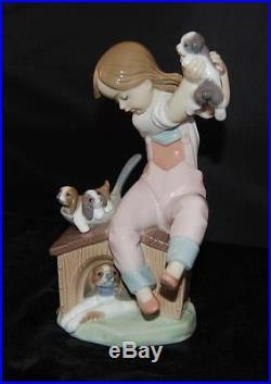 Lladro Figurine Pick of Litter Dogs & Girl #7621 -Ret 1993 by S Debon -MIB