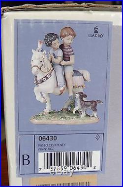 Lladro Figurine, Pony Ride #6430 2 Kids on Pony with Dog, in Original Box