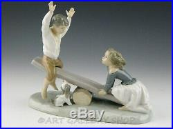 Lladro Figurine SEE SAW BOY AND GIRL WITH DOG FRIENDS #4867 Retired Mint