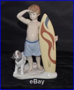Lladro Figurine SURF'S UP #8110 Surfer with Board & Dog J Santaeulalia -MIB