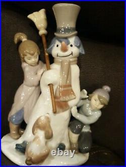 Lladro Figurine THE SNOWMAN BOY GIRL DOG WINTER HOLIDAY #5713 Retired