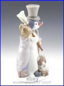 Lladro Figurine THE SNOWMAN BOY GIRL DOG WINTER HOLIDAY #5713 Retired Mint Box