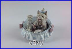 Lladro Figurine Yorkshire Terrier & Puppy Dog 6469'Our Cosy Home