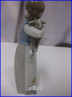 Lladro Figurines Girl With Lamb & Hound Dog