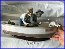 Lladro Fishing With Grampa. Dog, Boy, Grampa, &Boat Porcelain Figure