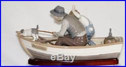 Lladro Fishing With Gramps #5215 Boy Grandfather Dog Boat Save$