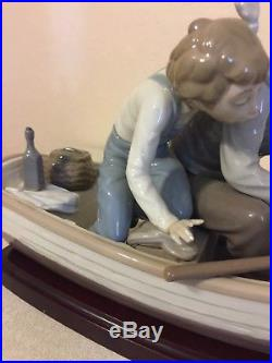 Lladro Fishing with Gramps #5215 Grandpa, Boy, Boat withDog Wood Base