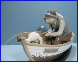 Lladro Fishing with Gramps #5215 Grandpa, Boy, Boat withDog Wood Base & Original Box