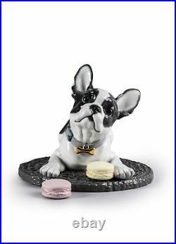 Lladro French Bulldog with Macarons Dog Figurine 01009398