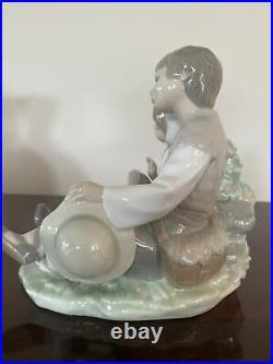 Lladro Friendship Boy Girl Dog 6.5 Tall Matte Figurine #1230 Retired 1991 Mint