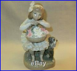 Lladro GIrl with Flowers & Dog #1088, withBox, Glazed, Retired 1989