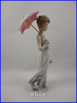 Lladro Garden Classic Strolling Girl With Parasol and Dog Figurine, 7617