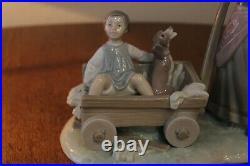 Lladro Girl Pulling Boy & Dog In Wagon #1245