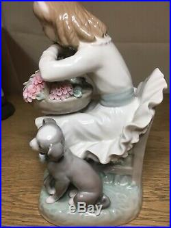 Lladro Girl Sitting In Chair With Flower Basket And Dog No. 1088. Very Rare