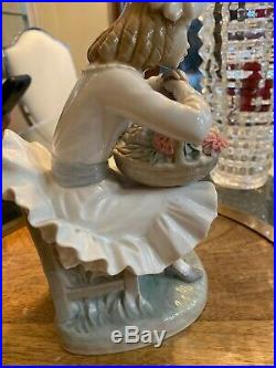 Lladro Girl Sitting in Chair with a Flower Basket and Dog Porcelain Figurine