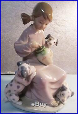 Lladro Girl With Dogs and Honey 1248