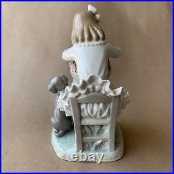 Lladro Girl with Dog Flower Basket Porcelain Figurine No. 1088, Gloss Finish
