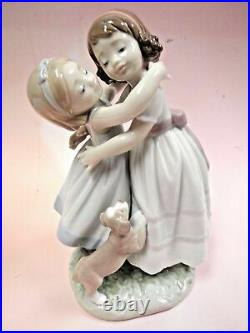 Lladro Give Me A Hug! Girls Hugging With Puppy Dog Figurine By Lladro #8046