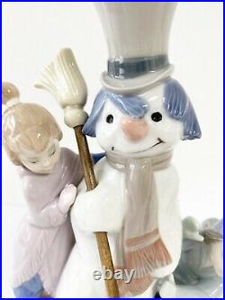 Lladro Glossy Porcelain THE SNOWMAN with Boy & Girl & Dog 5713 Signed
