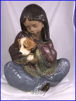 Lladro Gres Retired #2391 Loyal Companion Girl with Dog Large Statue 13