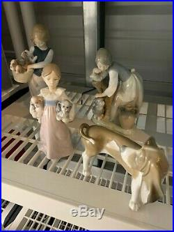 Lladro Group Of Girls With Dogs Excellent Condition
