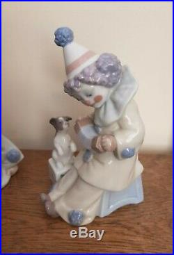 Lladro Group of x3 Pierrot Clown Figures with Dogs #5277 #5278 #5279