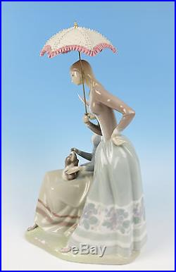 Lladro HARMONY GROUP Figurine #4804 MINT Glazed Retired 1981 Lace Parasol Dog