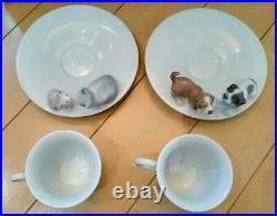 Lladro Happy Tea Time Cup Saucer Dog Cat