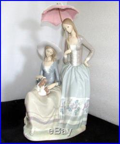 Lladro Harmony Group Figurine #4804 Lace Parasol Dog Large 19.5