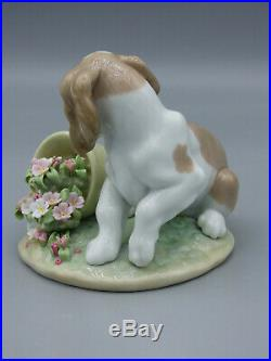 Lladro It wasn't Me! Porcelain Figurine Dog Puppy with Flowerpot 7672 Spain