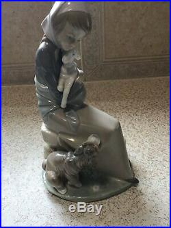 Lladro Jealousy / Devotion girl with lamb and dog Figurine Perfect