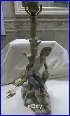 Lladro José Luis Alvarez Shepherd with Dog Porcelain Figurative Lamp